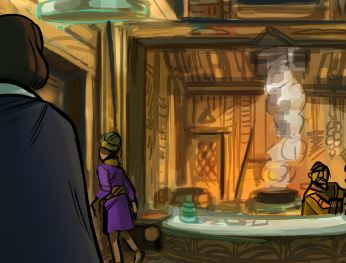 a small clip of a work in progress painting of an inn