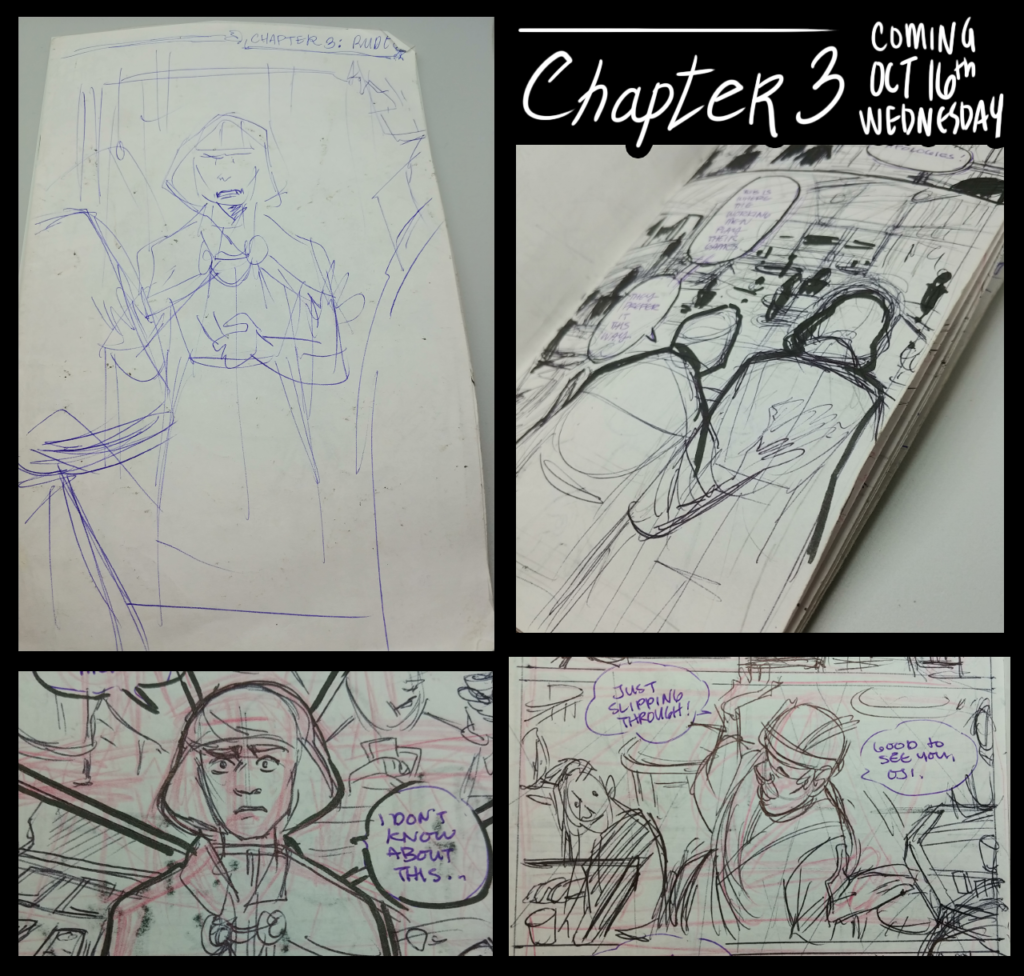 An image containing four shots of a small book containing messy pen and ink sketches of comic panels. It's announcing that Chapter 3 starts on October 16th.